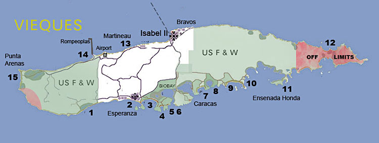 Map of Vieques beaches locations