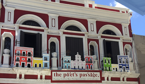 Poets passage has poetry readings and lunch and souvenirs in Old san Juan