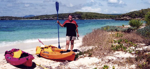 Novillo Beach reacheable only by kayak, in Vieques Puerto Rico, Navio beach in background.